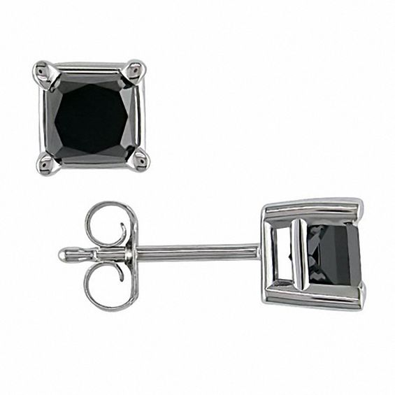 T W Princess Cut Enhanced Black Diamond Solitaire Stud Earrings In 10k White