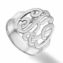 Script Monogram Ring in Sterling Silver (3 Initials)