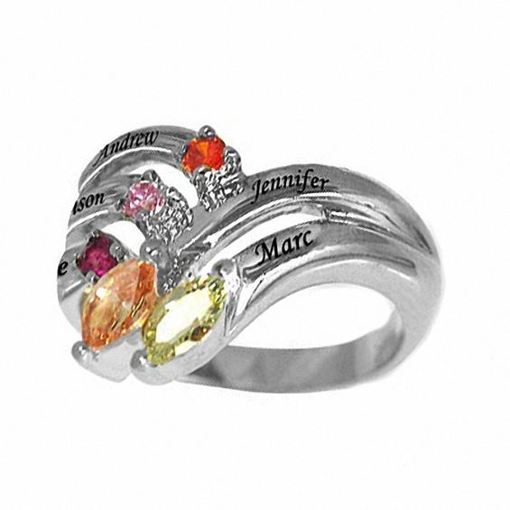 Zales Mothers Birthstone Ring in Sterling Silver (5 Names and Stones) iKwoyOPigZ