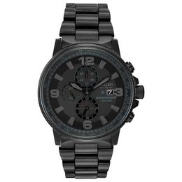 Men's Citizen Eco-Drive® Nighthawk Black IP Stainless Steel Chronograph Watch (Model CA0295-58E)