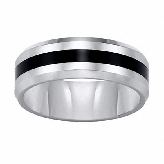 Zales Triton Mens 8.0mm Comfort Fit Tungsten and Black Resin Stripe Wedding Band RclVKBr2Bs