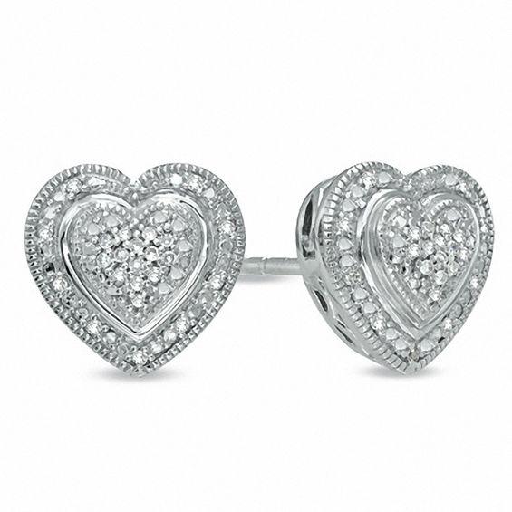 Zales 1/10 CT. T.w. Diamond Heart Front/Back Earrings in Sterling Silver hjaGstvC