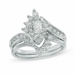 1 CT. T.W. Marquise Diamond Frame Bridal Set in 14K White Gold