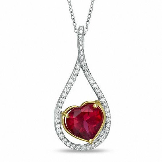 Zales Heart-Shaped Lab-Created Ruby and 1/4 CT. T.w. Diamond Pendant in Sterling Silver XhQ1ej