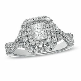 1-1/4 CT. T.W. Certified Radiant-Cut Diamond Double Frame Engagement Ring in 14K White Gold (I/I1)