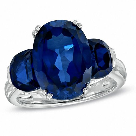 Oval Lab-Created Blue Sapphire Three Stone Ring in Sterling Silver