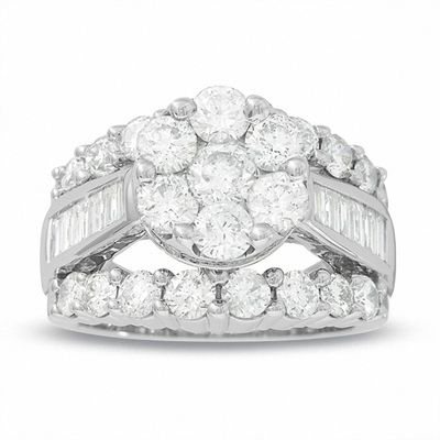 4 Ct Tw Composite Diamond Cluster Engagement Ring In 14k White Gold
