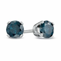 3/4 CT. T.W. Enhanced Blue Diamond Solitaire Stud Earrings in 14K White Gold