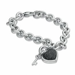 1/3 CT. T.W. Enhanced Black Diamond Heart with Key Charm Bracelet in Sterling Silver - 7.5""