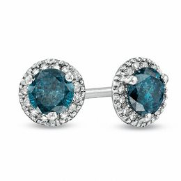 1 CT. T.W. Enhanced Blue and White Diamond Frame Stud Earrings in Sterling Silver