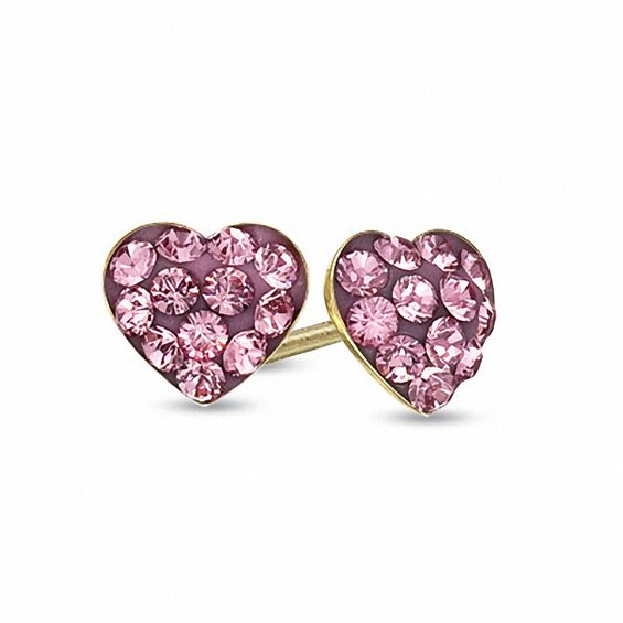 Zales Childs Rose Crystal Heart Earrings in 14K Gold