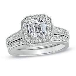 6.0mm Asscher-Cut Lab-Created White Sapphire Bridal Set in Sterling Silver - Size 7
