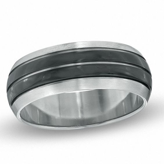 Mens Wedding Bands Titanium.Men S 8 0mm Comfort Fit Two Tone Titanium Wedding Band Zales