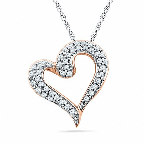 Zales 1/5 CT. T.w. Diamond Tilted Heart Pendant in 10K Rose Gold VOuGdD
