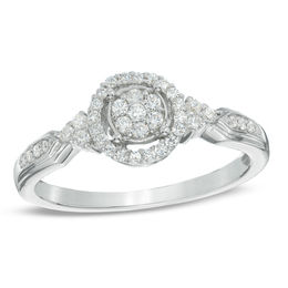 1/5 CT. T.W. Diamond Cluster Promise Ring in 10K White Gold