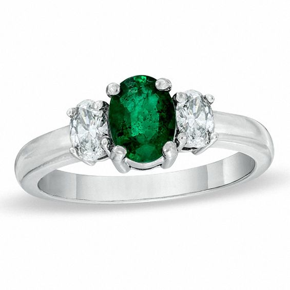 Oval Emerald And 1 4 Ct T W Diamond Three Stone