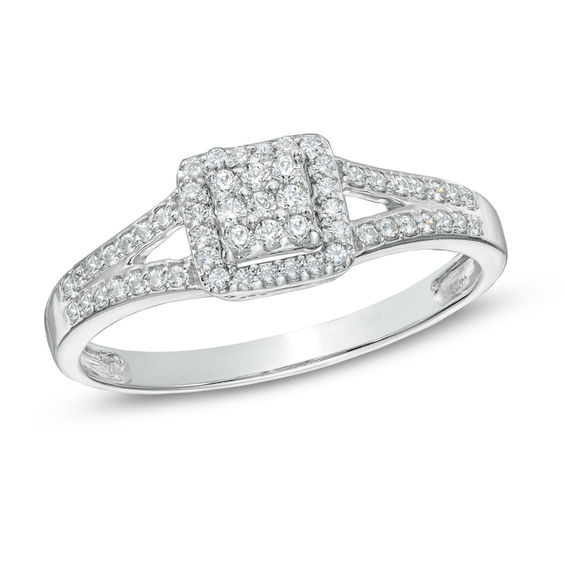 Zales 1/8 CT. T.w. Diamond Square Composite Promise Ring in 10K White Gold
