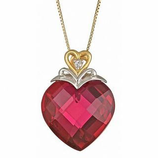 18 0mm Heart Shaped Lab Created Ruby And Diamond Accent