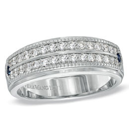 Vera Wang Love Collection Men's 5/8 CT. T.W. Diamond Double Row Wedding Band in 14K White Gold