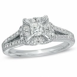 1 CT. T.W. Princess-Cut Diamond Vintage-Style Engagement Ring in 14K White Gold