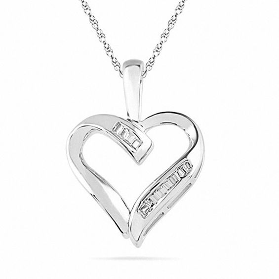 1/20 CT. T.w. Baguette Diamond Heart Pendant in 10K White Gold