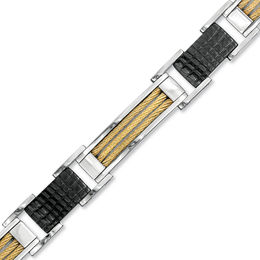 Men's Shaquille O'Neal Cable Bracelet in Tri-Tone Stainless Steel - 8.25""