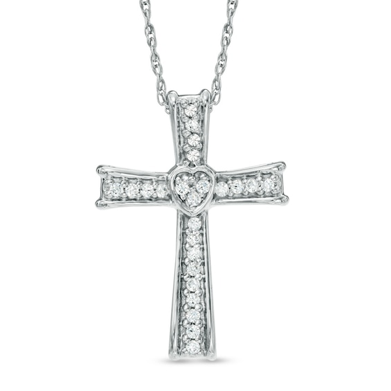 1/10 CT. T.w. Diamond Cross Pendant in Sterling Silver