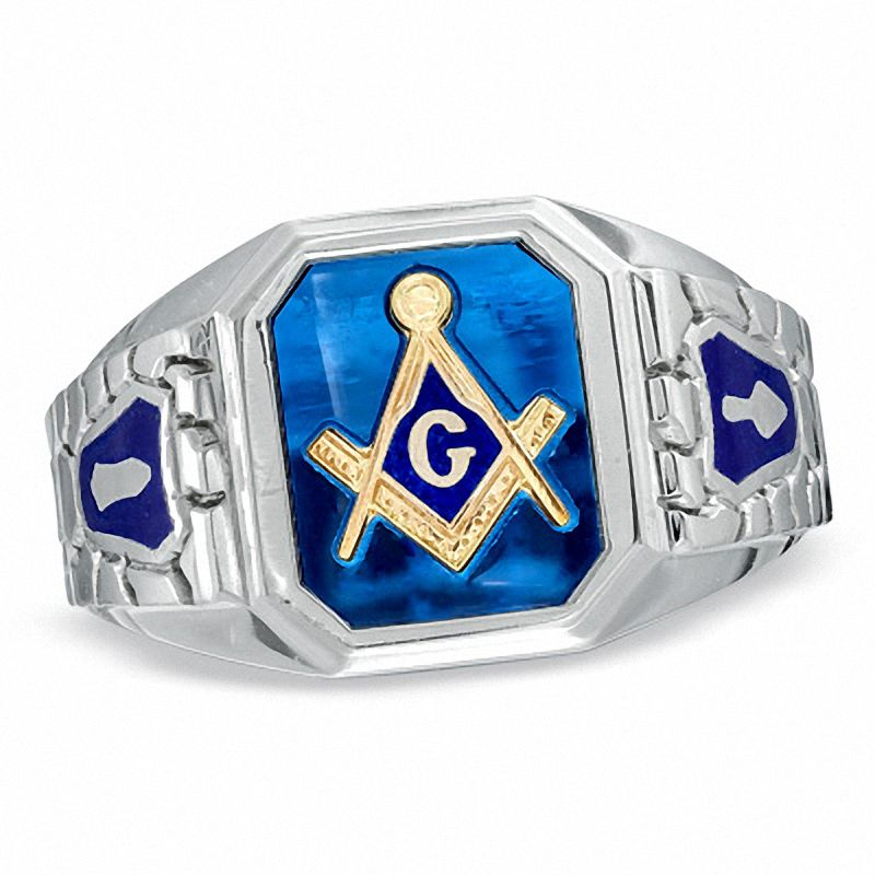 Men's Lab-Created Blue Sapphire and Enamel Comfort Fit Masonic Ring in  Sterling Silver|Zales