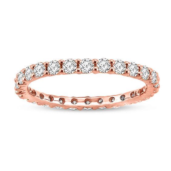 1 CT T W Diamond Eternity Wedding Band in 14K Rose Gold Wedding Bands