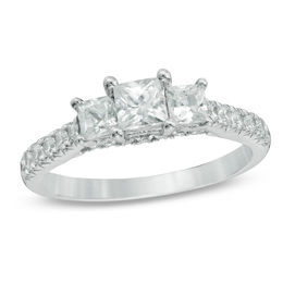 Celebration Grand® 1-1/4 CT. T.W. Princess-Cut Diamond Three Stone Ring in 14K White Gold (I-J/I1)