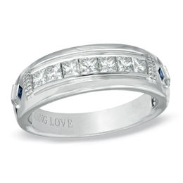Vera Wang Love Collection Men's 3/4 CT. T.W. Square-Cut Diamond and Blue Sapphire Wedding Band in 14K White Gold