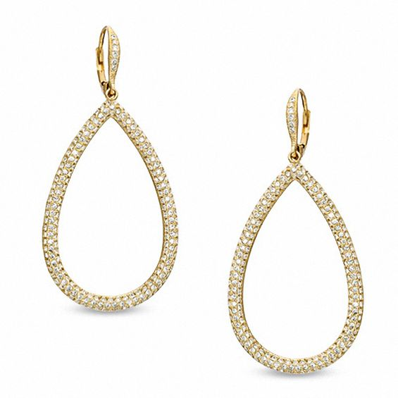 Ava Nadri Pavé Crystal Teardrop Earrings In Br With 18k Gold Plate