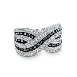 1/2 CT. T.W. Enhanced Black and White Diamond Criss-Cross Ring in Sterling Silver - Size 7
