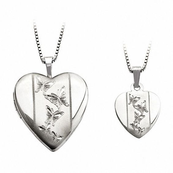 Zales Mother and Daughter Matching Butterfly Heart Locket and Pendant Set in Sterling Silver xqfE8rKFb5