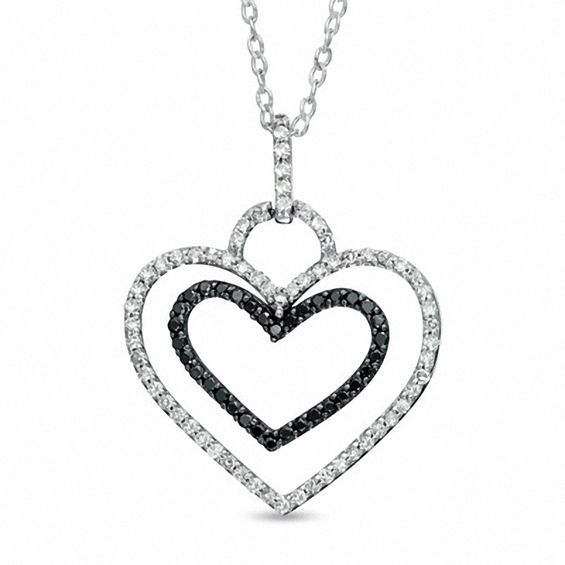 1 4 Ct T W Enhanced Black And White Diamond Double Heart