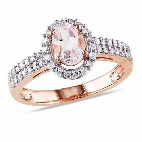 Oval Morganite And 1 3 Ct T W Diamond Engagement Ring In
