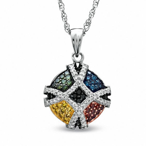 1/2 CT. T.w. Enhanced Multi-Color Diamond Pendant in Sterling Sil
