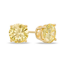 1-1/2 CT. T.W. Enhanced Yellow Diamond Solitaire Stud Earrings in 14K Gold