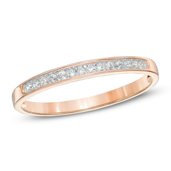 1 10 CT T W Diamond Anniversary Band in 10K Rose Gold Anniversary Rings