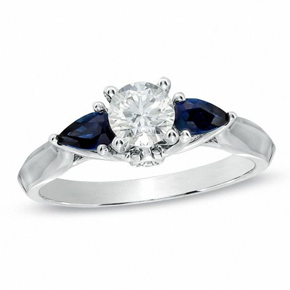 1/2 CT. T.w. Diamond and Pear-Shaped Blue Sapphire Three Stone Ring in 14K White Gold