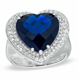Heart-Shaped Lab-Created Blue Sapphire and White Sapphire Ring in Sterling Silver