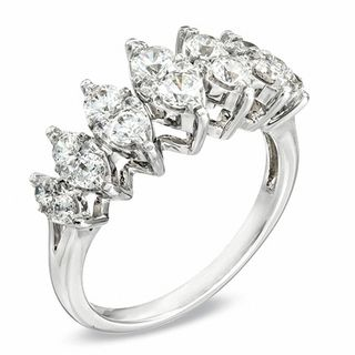 1 Ct T W Diamond Marquise Cluster Seven Stone