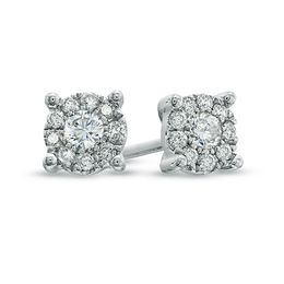 1/4 CT. T.W. Diamond Frame Stud Earrings in 14K White Gold