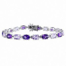 Rose de France and Purple Amethyst Bracelet in Sterling Silver - 7.25""