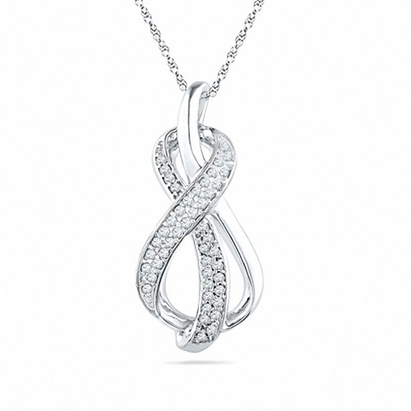 33aa6ab00 1/5 CT. T.W. Diamond Infinity Loop Pendant in Sterling Silver ...