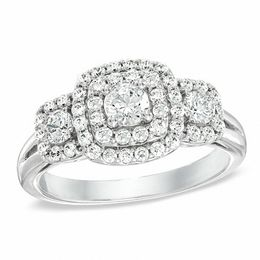 1 CT. T.W. Diamond Double Frame Three Stone Ring in 10K White Gold
