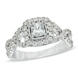 Celebration Lux® 1 CT. T.W. Princess-Cut Diamond Engagement Ring in 14K White Gold (I/SI2)
