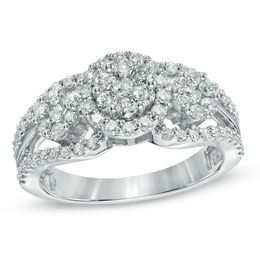 1 CT. T.W. Diamond Triple Cluster Ring in 10K White Gold
