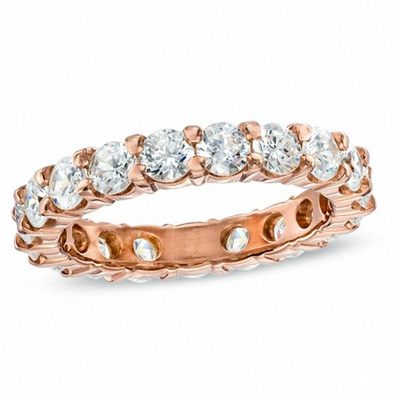 3 CT T W Diamond Eternity Wedding Band in 14K Rose Gold I I1