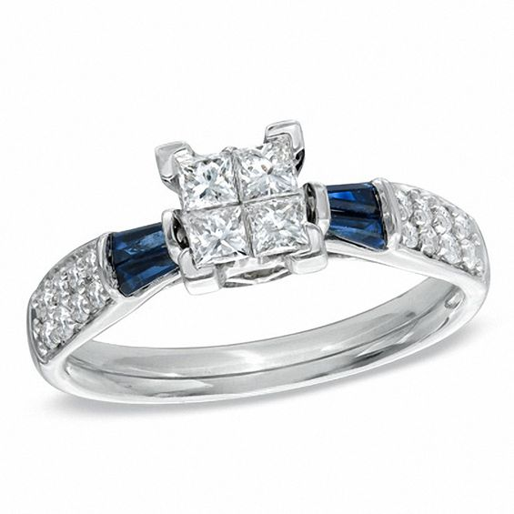 1 2 Ct T W Princess Cut Quad Diamond And Blue Sapphire